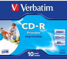 <p>Verbatim CD-R (PRINTABLE) 52X (JEWEL CASE) 700MB 10PACK</p>