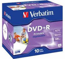 <p>Verbatim DVD+R (PRINTABLE) 16X (JEWEL CASE) 4.7GB 10PACK</p>