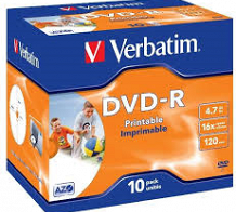 <p>Verbatim DVD-R (PRINTABLE) 16X (JEWEL CASE) 4.7GB 10PACK</p>
